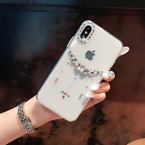 Asymmetric Rhinestone Clear Transparent Phone Case for Samsung gallery 1