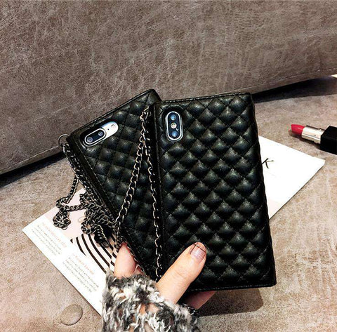 Luxury Wallet Designed iPhone Case with Mirror & Card Holder