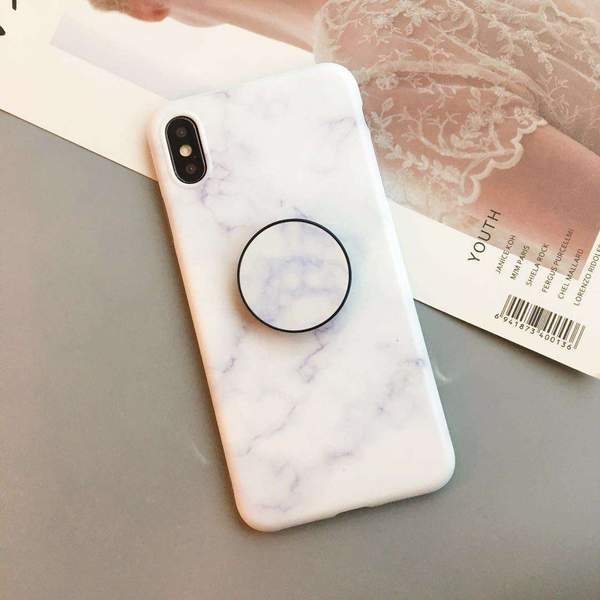 Elegant Marble Pattern iPhone Case with Phone Holder