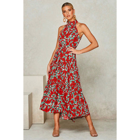 Floral Print Sleeveless Frill Maxi Dress