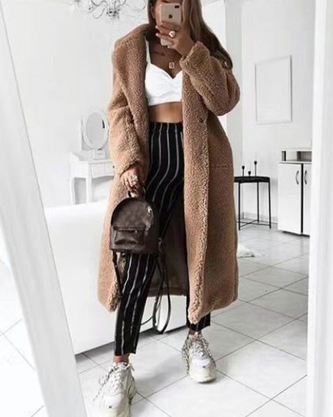 Lapel Collar Solid Longline Teddy Coat