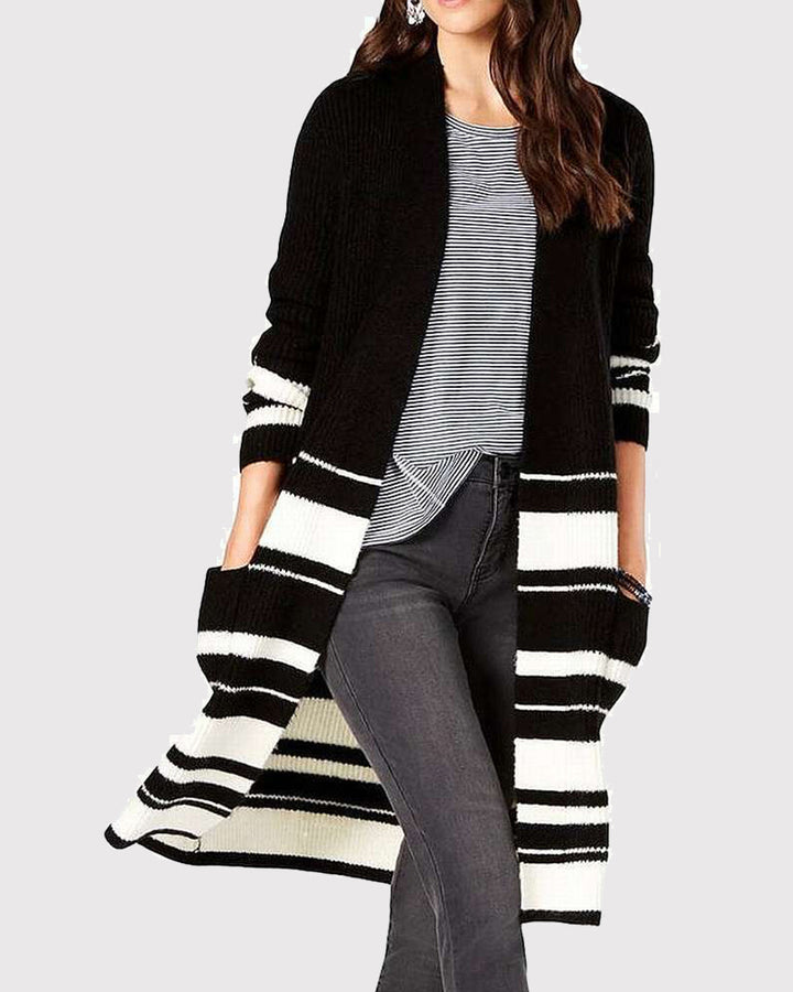 Striped Rib-Knit Dual Pocket Open Front Cardigan gallery 1