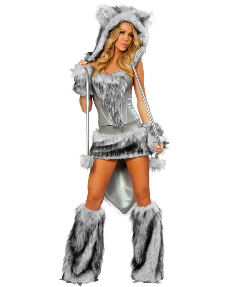 Lace Up Back Fluffy Wolf Costume Set
