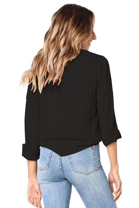 Black Crushed Linen Button-Down Casual Shirt gallery 3