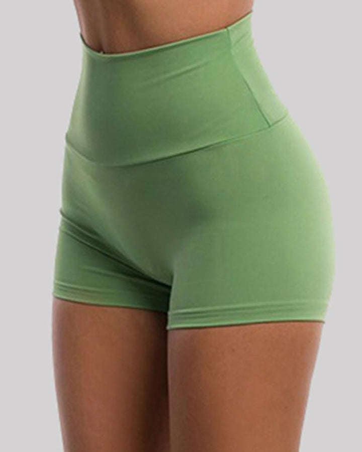 Solid Ruched Butt Lifting High Waist Sports Short gallery 7