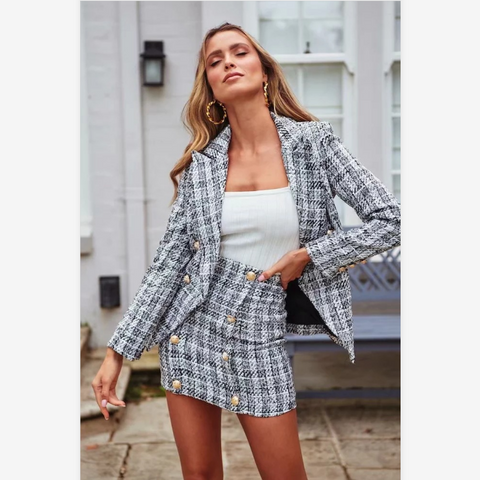 Elegant Plaid Pattern Gold Button Detail Blazer & Skirt Set