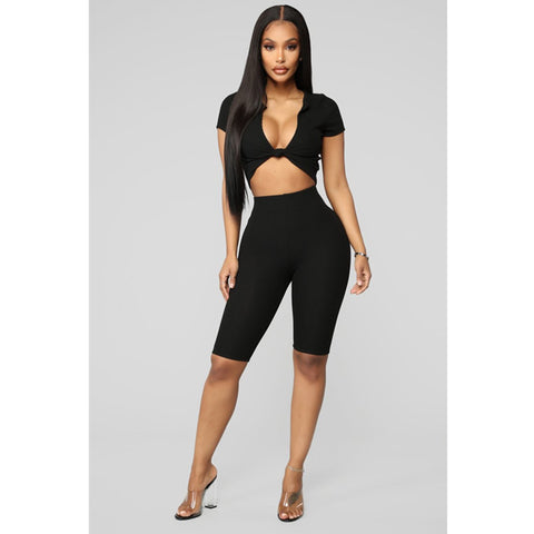 Ribbed Knot Detail Elastic Waistband Cropped Top & Short Set