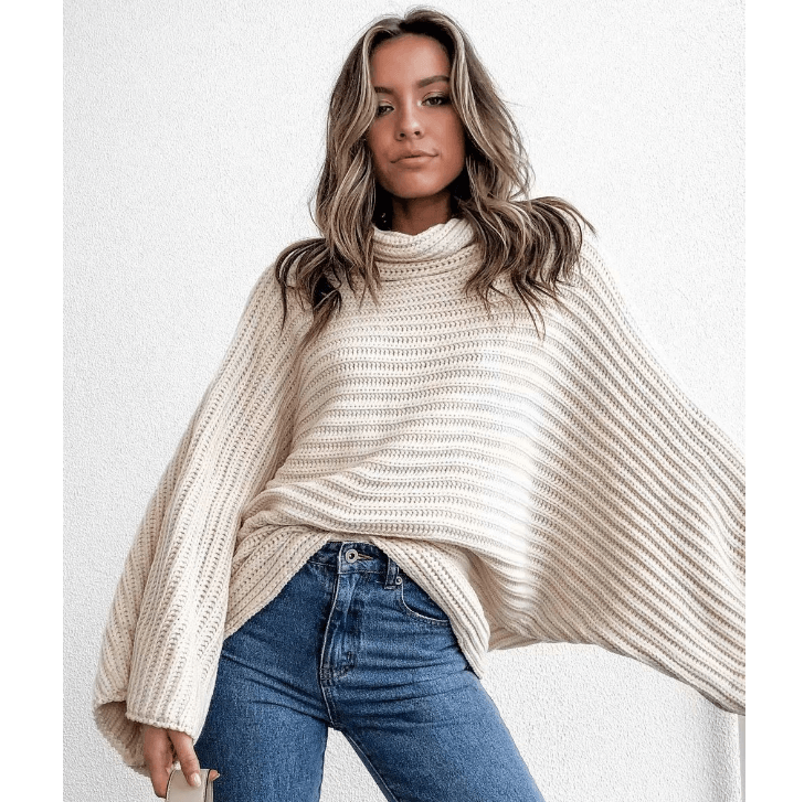 Solid Color Roll Neck Batwing Sleeve Textured Sweater