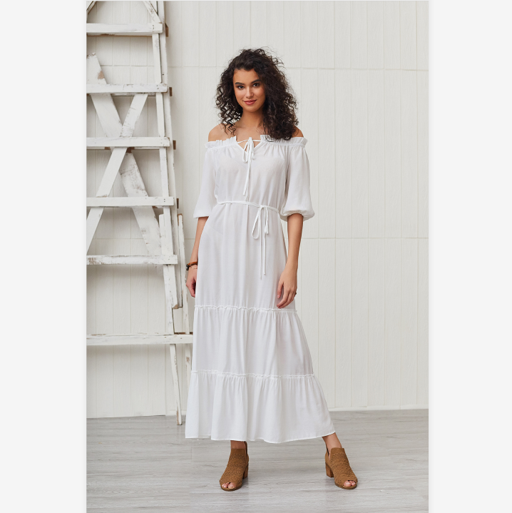 White Off Shoulder Puff Sleeve Tied Waist Dress