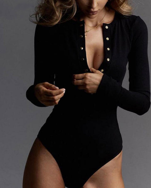 Solid Press Button Front Rib-knit Long Sleeve Bodysuit