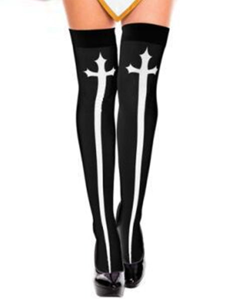 Cross Graphic High Rise Stockings