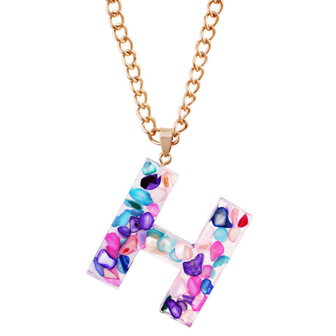 Colored Initial Pendant Necklace