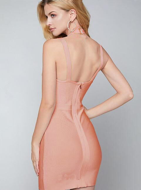 Peach Pink Strappy Halter Bandage Dress gallery 5