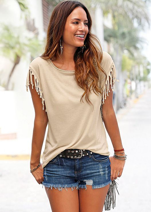 Tassel Sleeve Drop Waist Round Neck T-Shirt