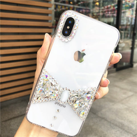Bowknot Rhinestone Clear Transparent Phone Case for Samsung gallery 5