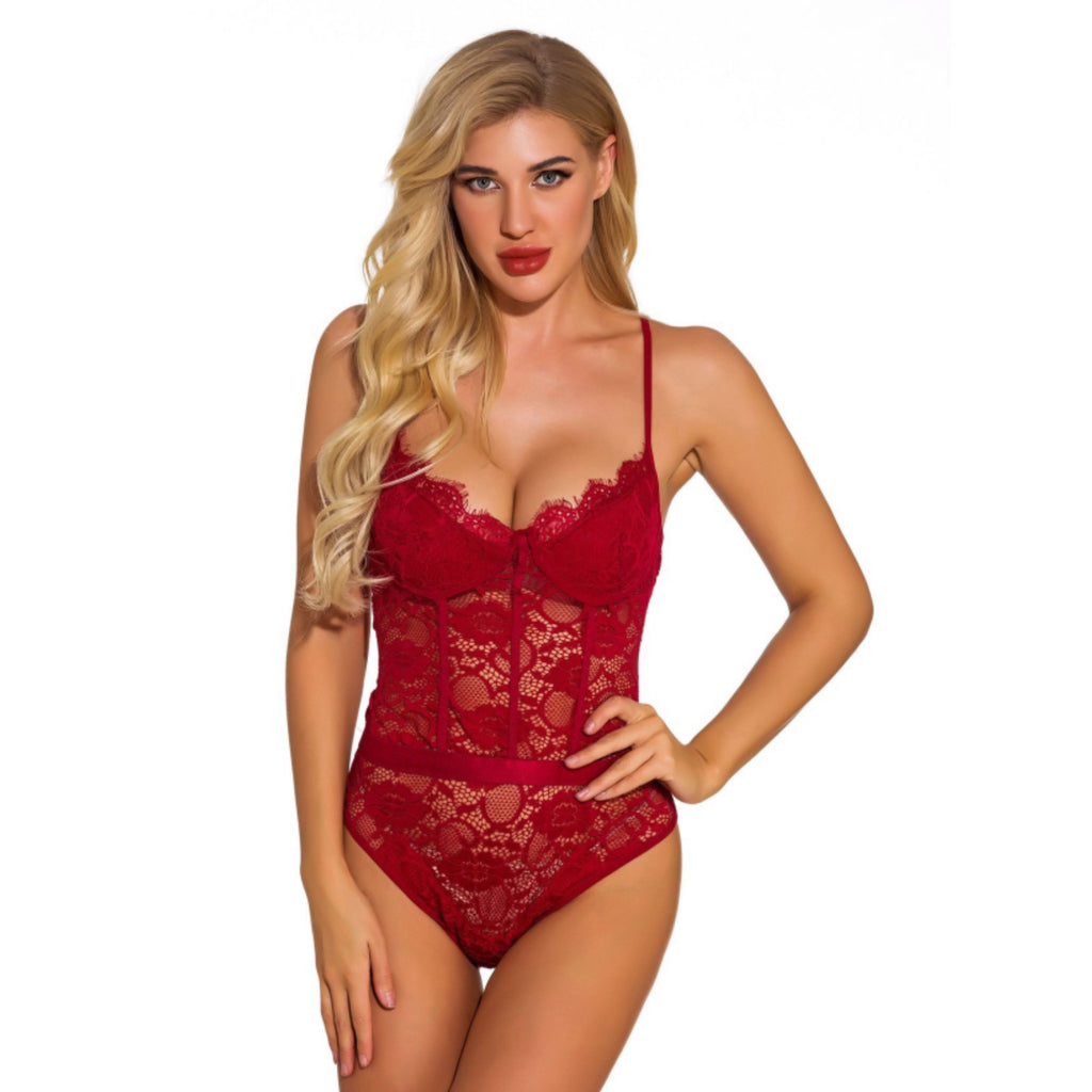 Deep V Neck Sexy Eyelash Lace Teddy