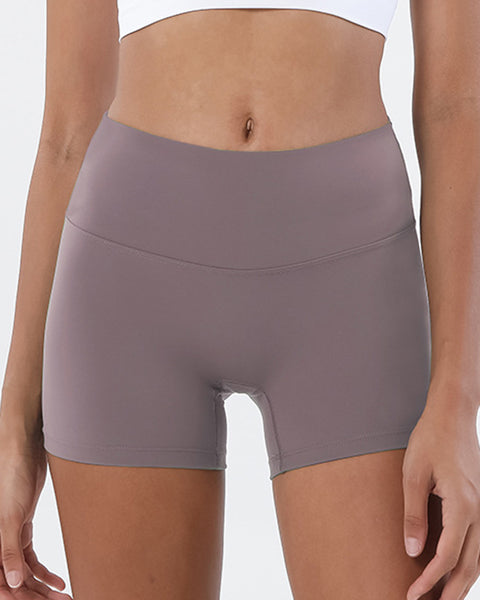 Solid High Waist Sports Shorts gallery 7