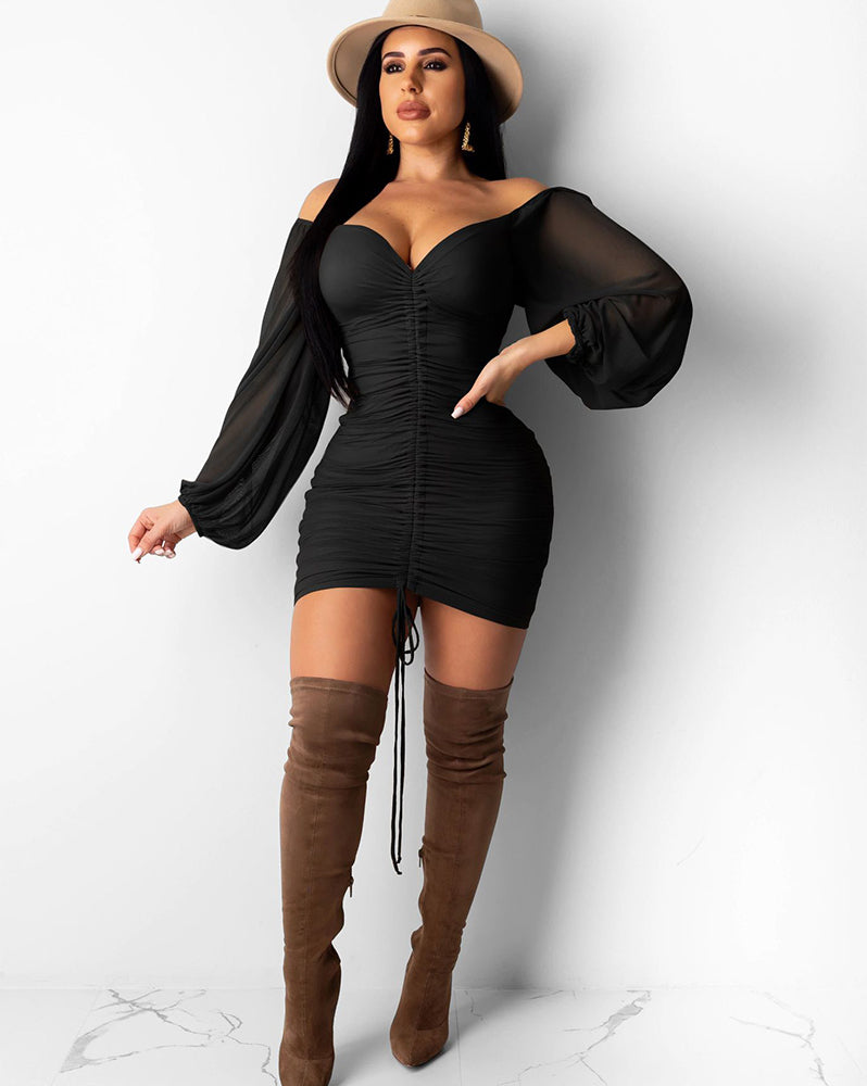 Off Shoulder Ruched Drawstring Front Sweetheart Mini Dress