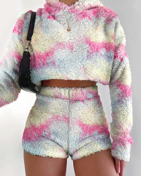 Tie Dye Fluffy Knit Hooded Sweater & Shorts Set