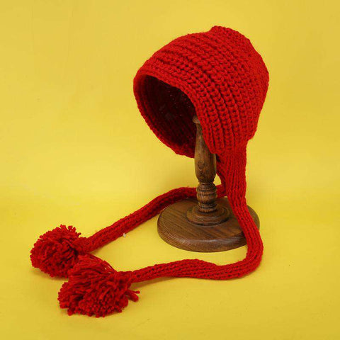 Hand-made Cute Warm Knitted Woolen Ear Hat with Long Braid gallery 7