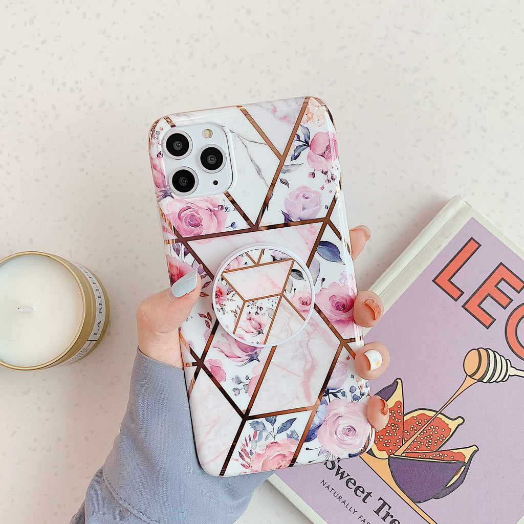 Electroplate Retro Gradient Marble iPhone Case with Phone Holder