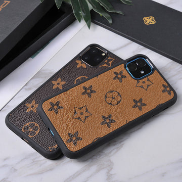 PU Leather Stars And Plaid Pattern iPhone Phone Cases