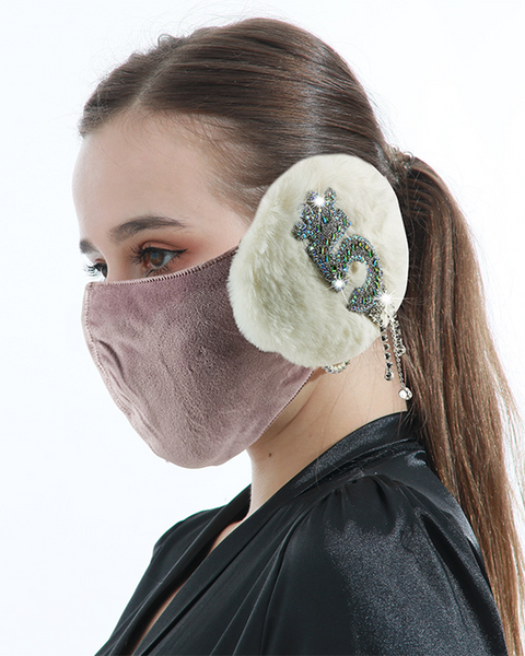 Letter Embroidery Rhinestone Tassels Decor Detachable Earmuff Mask gallery 3