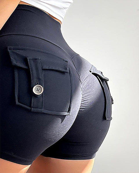 Flap Pocket Ruched Back Sports Shorts gallery 7