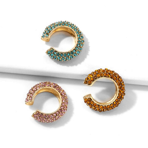 5 Colors Diamante Stud Ear Cuff Set