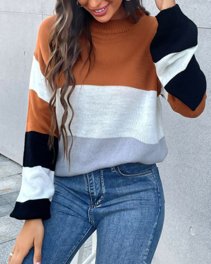 Colorblock Rib-Knit Round Neck Sweater gallery 3