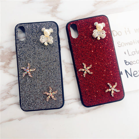 Bear & Starfish Pearl Deco Full Glittering Phone Case for Samsung gallery 8