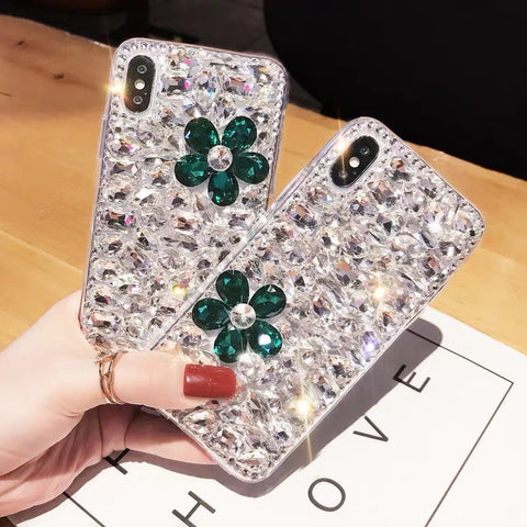 Clear Floral Full Rhinestone Cover Phone Case for Samsung gallery 4