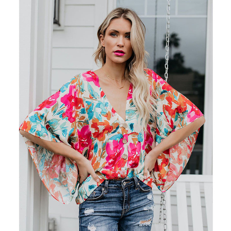 Floral Print V-Neck Batwing Sleeve Button Detail Top