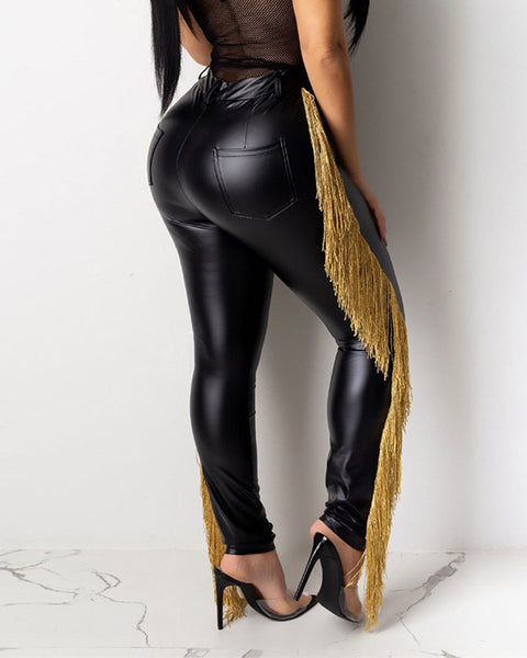 Fringe Side PU Leather Skinny Leg Pants