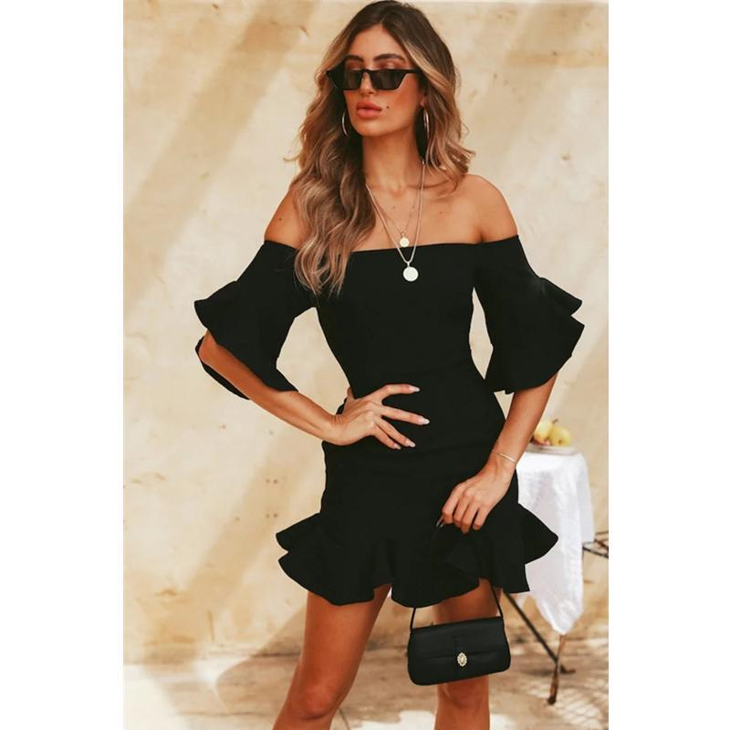 Frill Sleeves Off Shoulder Mini Dress