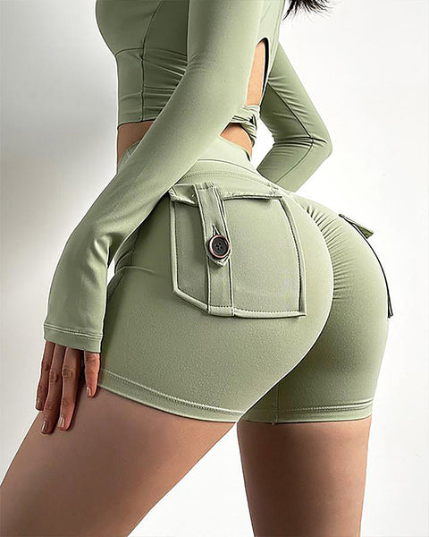 Flap Pocket Ruched Back Sports Shorts gallery 4