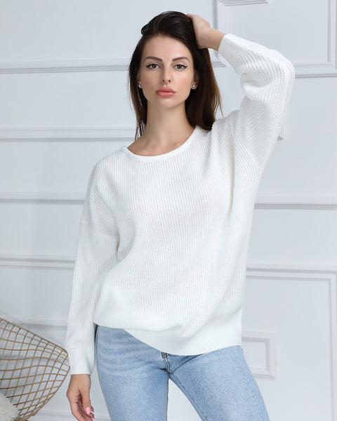 Cut Out Back Drop Shoulder Sweater