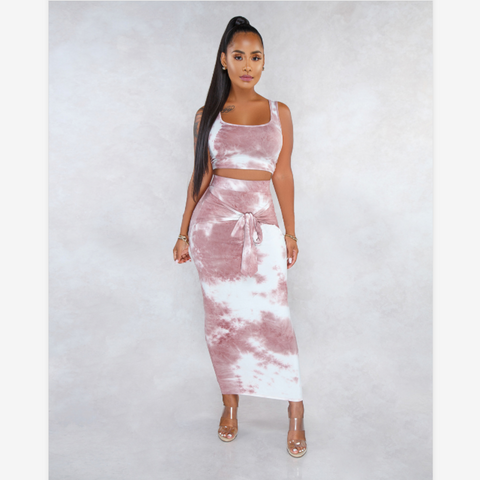 Tie Dye Print Tied Detail Sleeveless Top & Skirt Set