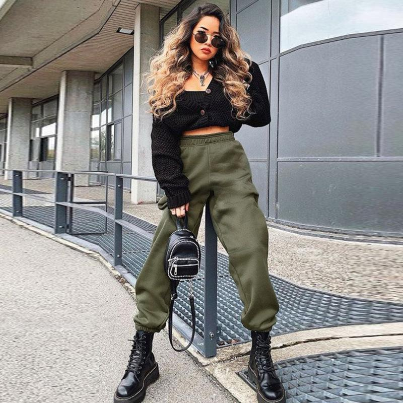 Army Green Elastic Waist Oversized Joggers