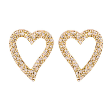 7 Colors Heart Shape Diamante Hoop Stud Earrings