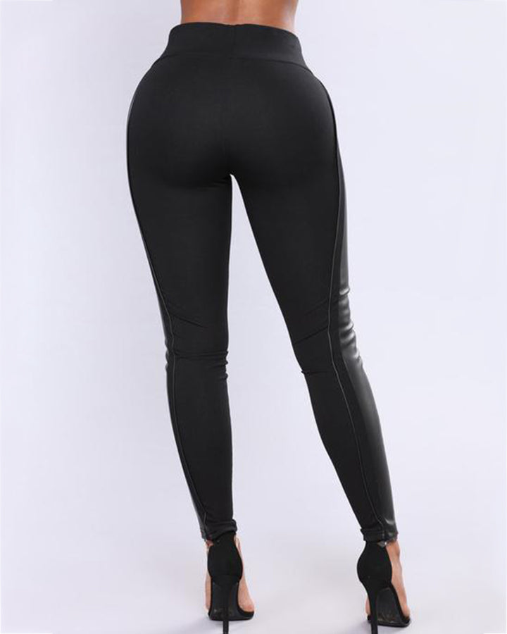 Mid Waist PU Leather Patched Skinny Pants gallery 5