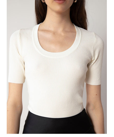 Ivory Scoop Neck Ribbed Short Sleeve Knit Top gallery 2