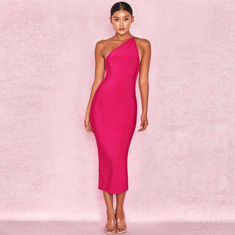 Bandage One Shoulder Backless Midi Dress