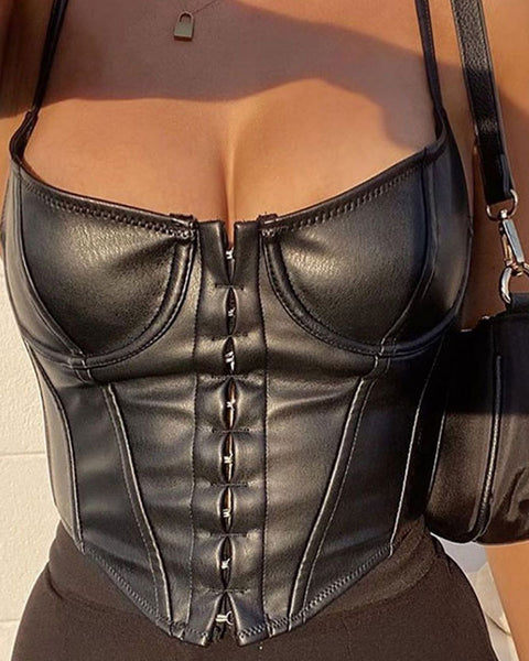 Hook and Eye Front PU Leather Top