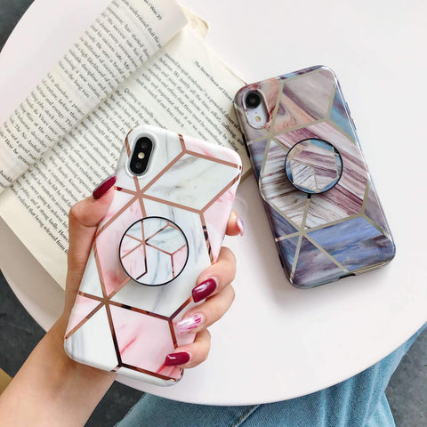Rhombus Electroplate Marble Phone Case for Samsung with Phone Holder gallery 1