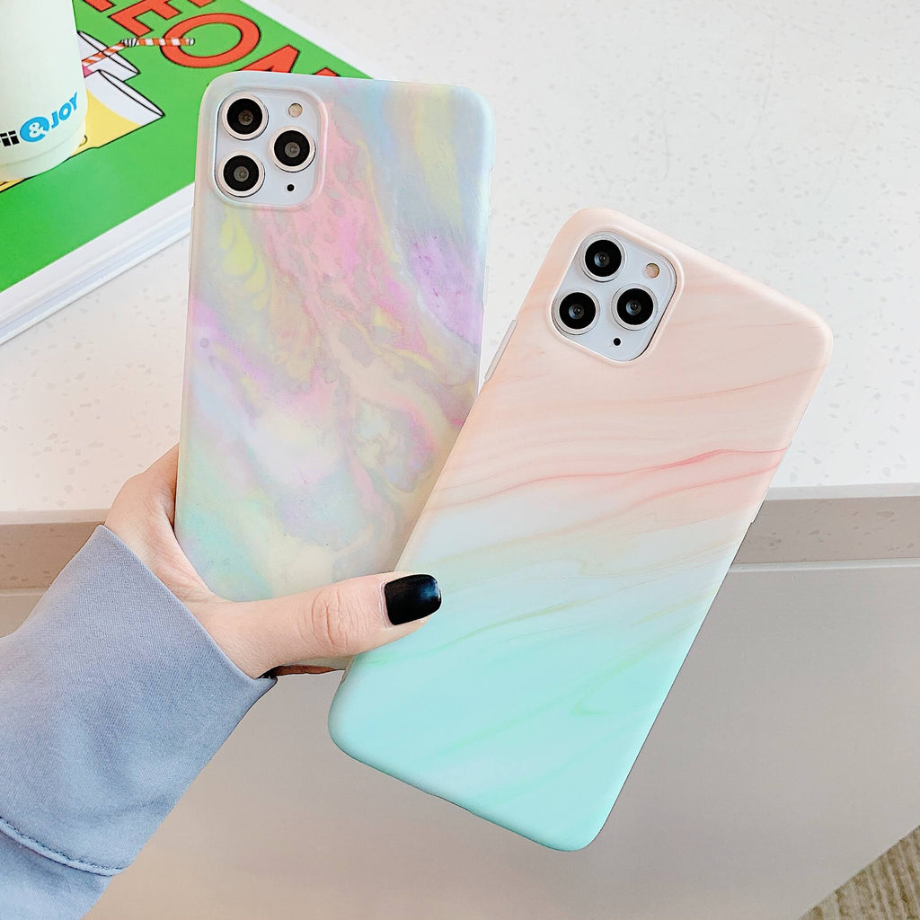 Gradient Frosted Motif Marble iPhone Case