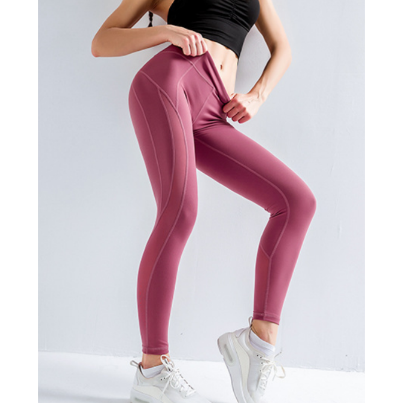 Topstitching Wide Band Waist Sports Leggings