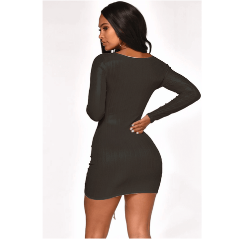 Metallic Cut Out Front Drawstring Ruched Mini Bodycon Dress gallery 9
