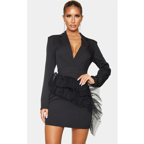Long Sleeve Mesh Decorated Front Blazer Mini Dress