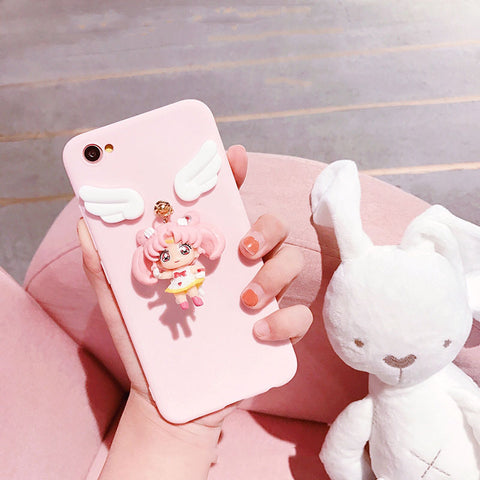 Solid Color Samsung Case with Lovable 3D Girl gallery 4
